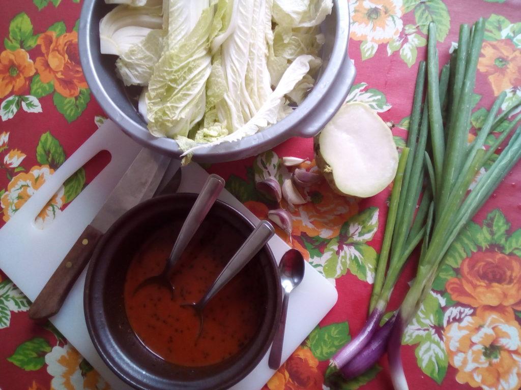Le kimchi se compose principalement de chou chinois, de navet, d'oignons nouveaux et d'un assaisonnement à base d'ail, de sauce poisson et de piment.