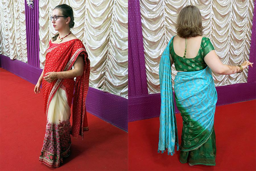 sari bleu et sari rouge