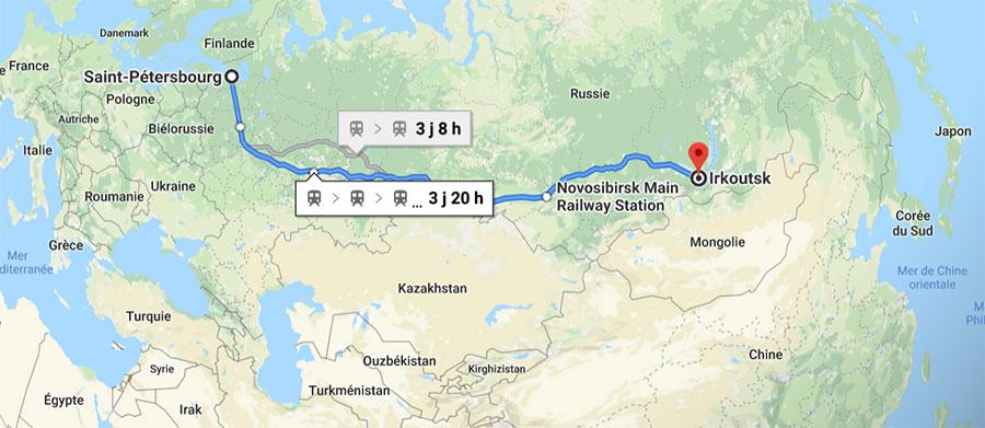 Voici le trajet que je vais suivre en train à travers la Russie, en quatre semaines et sept étapes. Si j'avais voulu faire la route d'une traite, il m'en aurait coûté quelques quatre-vingt heures de voyage...