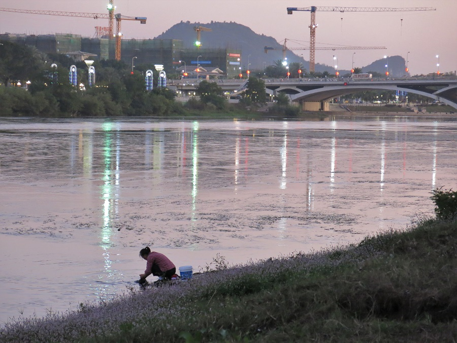 Même en pleine ville, les habitants semblent proches de la rivière Li. De bon matin, j'ai vu toute une bande de soixantenaires, dûment équipés de bonnets de bain et de lunettes de natation, y faire des longueurs. Et, dès le soir, on y voit des dames faire leur lessive.