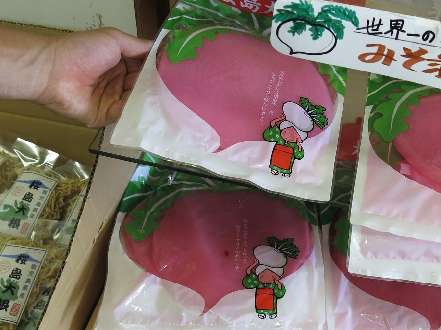 """Bien que les chutes importantes de cendres volcaniques rendent la culture compliquée à Sakurajima, la presqu'île se vante de produire les plus gros radis du monde ! Peut-être ce sable noir a-t-il des propriétés extraordinaires ? Toujours est-il que les daikon, ces fameux radis japonais, atteignent ici des volumes improbables. Les boutiques de souvenirs les vendent en tranches, marinés en """"tsukemono"""", comme les Japonais les consomment souvent."""