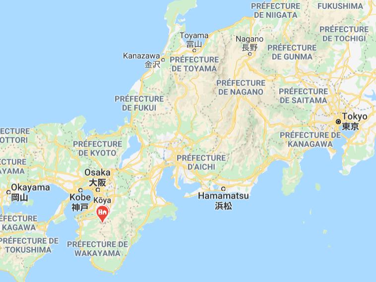 Carte du Japon avec l'emplacement du mont Koya, sur la péninsule de Kii, au sud d'Osaka.