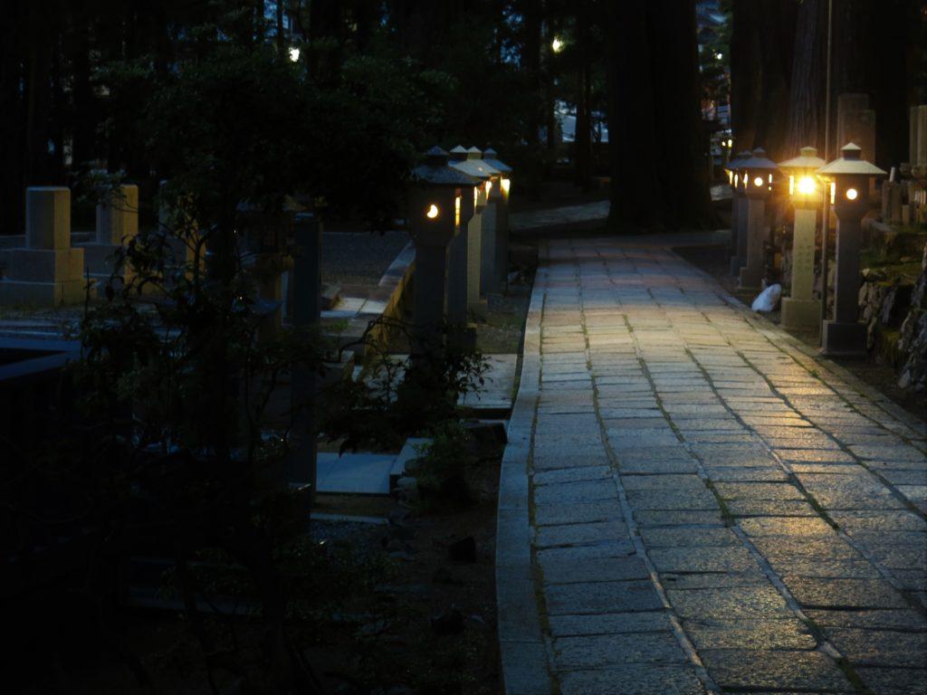 L'Oku-no-in est un grand cimetière bouddhiste très ancien, où plus de 200 000 tombes jalonnent un chemin de 2 km à travers la forêt. Ce qui fait le charme du lieu, ce sont les immenses cèdres dont la plupart ont entre 200 et 600 ans, ainsi que les tombes couvertes de mousse dont les plus vieilles ont environ 800 ans.