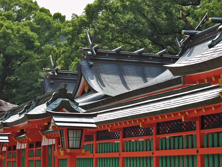 Pour tout dire, ce sanctuaire était presque identique à celui de Hongû, que nous avions visité la veille. La principale différence était qu'il était peint de belles couleurs vives. Le rouge vermillon, le vert sapin et le jaune avaient remplacé le bois sombre du Hongû Taisha. Mais de fidèles venus saluer le kami (divinité) des lieux, point la queue...