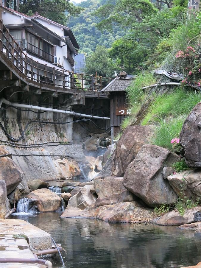 Le minuscule village thermal de Yunomine s'étire au fond d'une gorge, le long d'une rivière où se mélangent eau froide et sources chaudes.