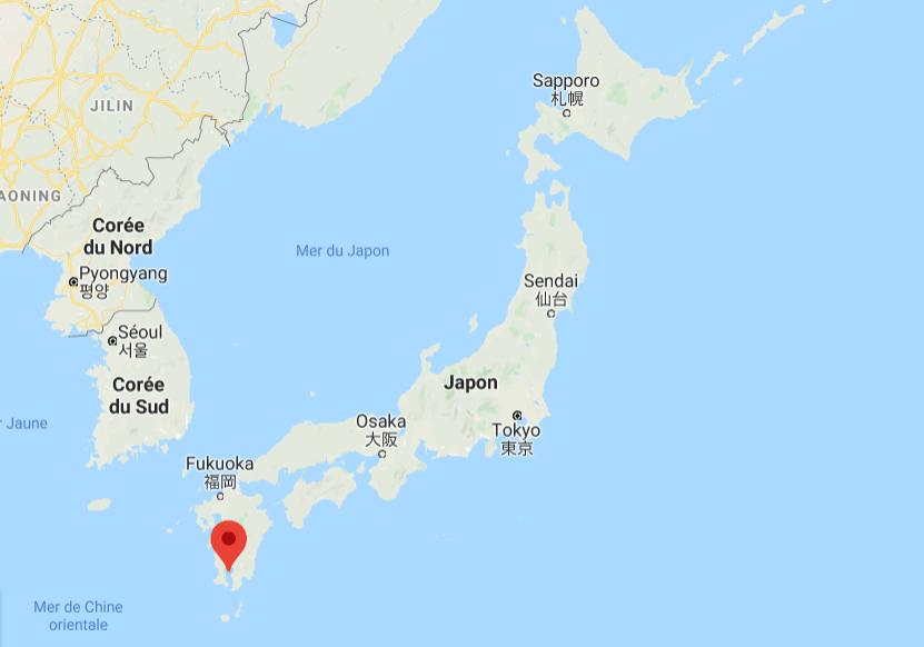 Emplacement de la ville de Kagoshima et du volcan de Sakurajima sur la carte du Japon.