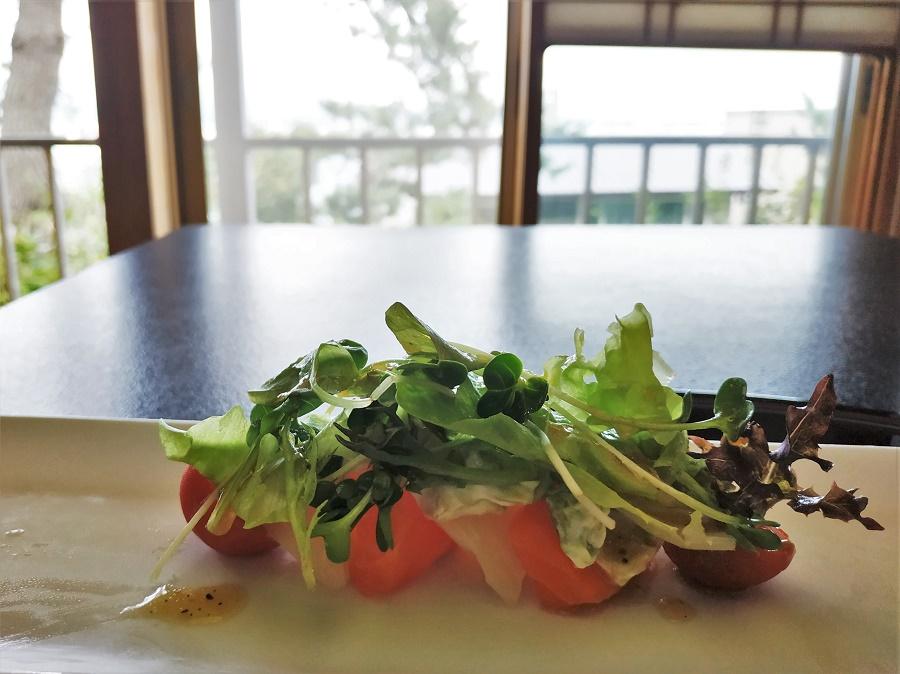 """Traditionnellement, tout menu kaiseki doit comporter au moins un sashimi de saison, c'est-à-dire un plat de poisson cru. En l'occurrence, le restaurant proposait une version """"fusion"""" avec des influences occidentales : saint-jacques et saumon crus, avocat-mayonnaise, mesclun, pousses de daïkon et sauce ponzu (sauce soja & jus de yuzu). Très frais !"""