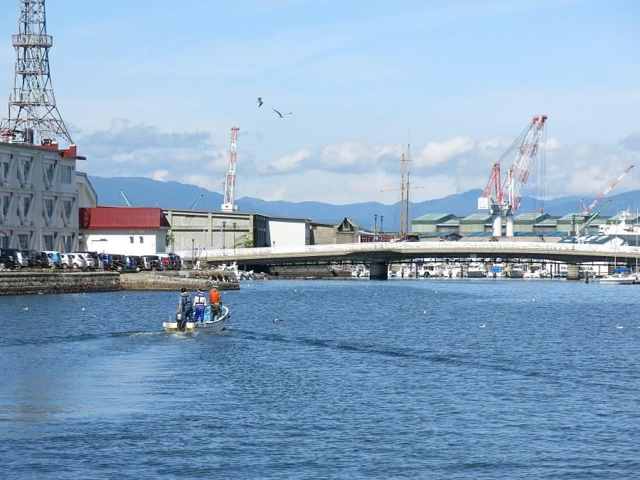 """Juste en face de ma super auberge de jeunesse """"HakoBa"""", la petite baie d'Hakodate où ont débarqué les premiers navires de commerce américains, au milieu du XIXe siècle. Quel bonheur d'admirer la vue depuis le toit-terrasse de l'auberge ;)"""